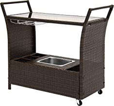 Best Choice Products Outdoor Patio Wicker Serving Bar Cart W/Ice Bucket, Wine Rack- Brown
