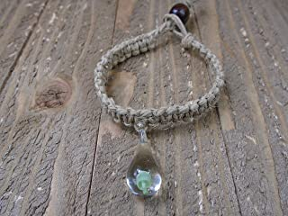 BEACH HEMP JEWELRY Green Mushroom Hemp Bracelet Glass Pendant Handmade In USA