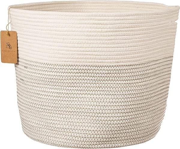 Collapsible Laundry Storage Basket Cotton Rope Laundry Basket Decorative Basket 17 X 14 7 By Shop4Elite