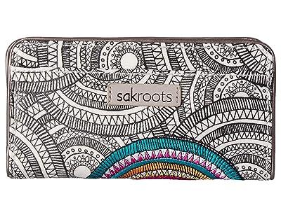 Sakroots Artist Circle Slim Wallet (Black/White Mosaic Wanderlust) Wallet Handbags