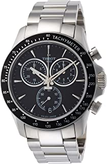 Men's V8 Chrono Quartz Swiss Stainless Steel Strap, Grey, 22 Casual Watch (Model: T1064171105100)