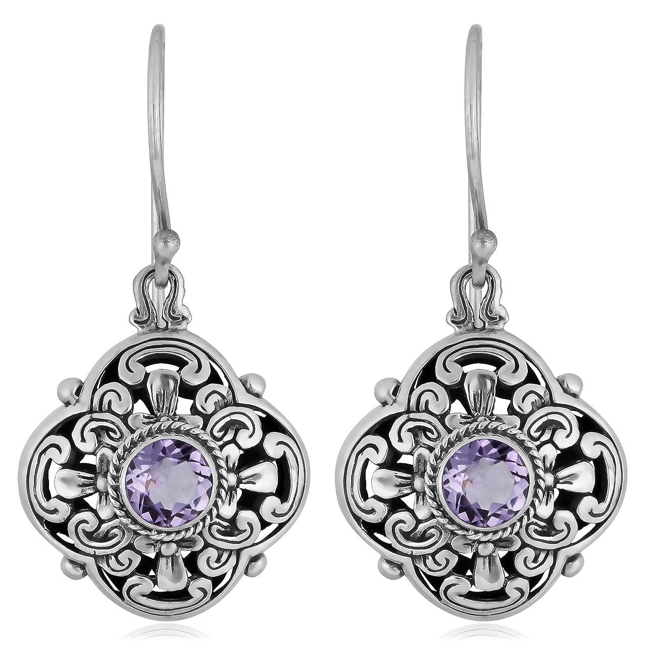 Artisanica Amethyst Sterling Silver Floral Artistic Dangle Earrings