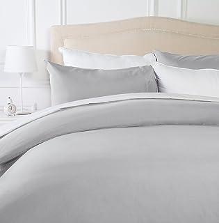 Amazon Basics - Juego de fundas de edredón y de almohada de microfibra, 200 x 200 cm + 2 fundas 50 x 80 cm - Gris claro