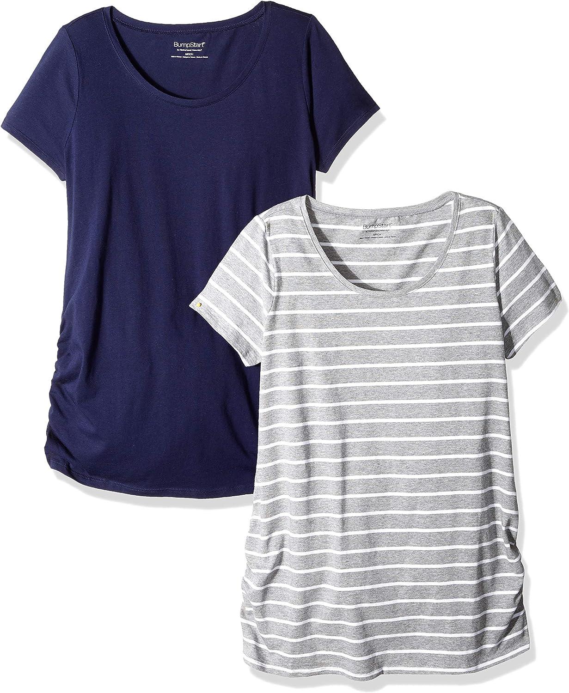 Motherhood Maternity Womens Maternity BumpStart 2 Pack Short Sleeve Tee Shirts
