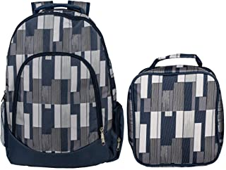 Reinforced Water Resistant School Backpack and Insulated Lunch Bag Set (1, Grey Pixel Stripe)