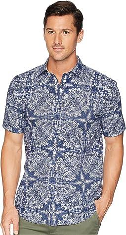Shaped Fit Indigo Paisley Woven Shirt