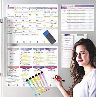 $24 » New! Magnetic Weekly Planner 4 Pack, KYONANO Family Planner, Magnetic Whiteboard Calendar Incl. Monthly Weekly Meal Planne...