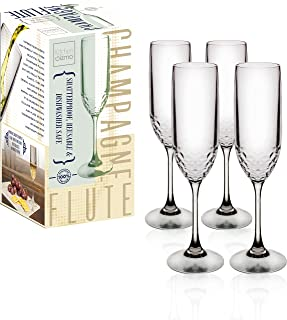 Kitchen Gizmo - Unbreakable Wine Glasses With Hammered Finish 100% Tritan - Set of 4, 5oz Champagne Flutes.