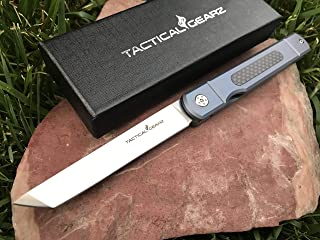TACTICAL GEARZ TG Tatsu, Tc4 Titanium/Carbon Fiber Handle! Japanese Style EDC Folding Knife w/Sheath! Polished D2 Steel Tanto Blade! Ball Bearing Pivot System!