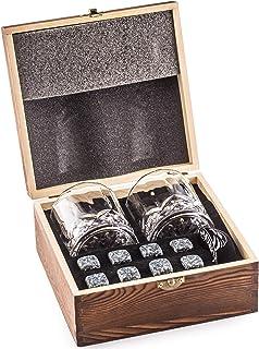 Amerigo Whisky Piedras Set de Regalo y 2 Vasos de Whisky - Sea Diferente a la Hora de Elegir un Regalo - Reutilizables Cubitos de Hielo - 8 Whisky Rocks de Granito Whiskey Stones Gift Set