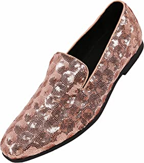 e8f85de2219 Amali Mens Sequin Circle and Diamond Patterned Comfortable Smoking Slipper  Dress Shoes