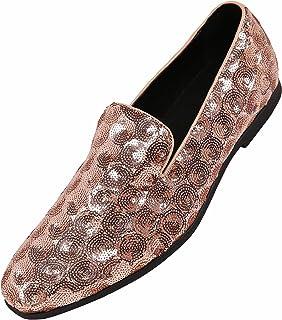 Amali Mens Sequin Circle and Diamond Patterned Comfortable Smoking Slipper Dress Shoes, Nightclub Slip On
