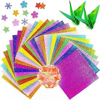 CANIKA オーロラ おりがみ エンボス加工 千羽鶴 単色 折り紙 15cm 10色50枚入り