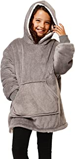 Sienna Kids Hoodie Blanket Oversized Ultra Soft Plush Sherpa Fleece Wearable Warm Throw Cosy Pull Over for Boys Girls Chil...