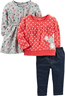Baby Girls' 3-Piece Long-Sleeve Top, Dress, and Pants Playwear Set