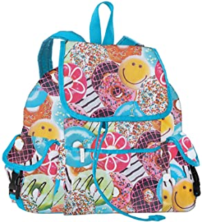 Happy Donuts' Deluxe Knapsack Style 16.5 x 13 Backpack for School and Travel