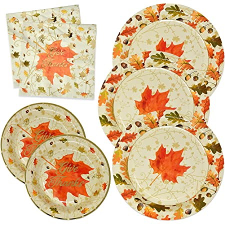 Amazon Com Thanksgiving Paper Plates And Napkins Disposable For 50 Guests Includes 50 10 Dinner Plates 50 7 Dessert Plates And 100 Luncheon Napkins In Elegant Gold Foil Fall Design For Autumn Tableware