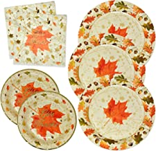 Thanksgiving Paper Plates and Napkins Disposable for 50 Guests includes 50 10