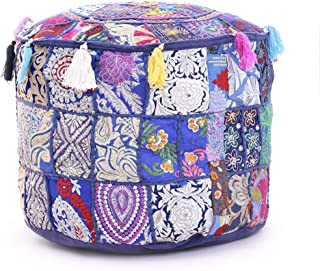 Indian Pouf Footstool Ethnic Embroidered Pouf Cover, Indian Cotton Round Pouffe Ottoman Pouf Cover Pillow Ethnic Decor Art - Cover Only (Purple, Ottoman 14x22 Inch)