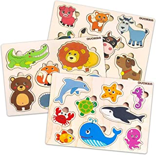 Quokka Wooden Peg Puzzles for Toddlers 1 2 3 Year Olds | 3 Pack | Kids and Babies Game for Learning Shapes Sea Creatures Pets and Aminals | Educational Wood Preschool Toys for Boys and Girls Ages 1-3