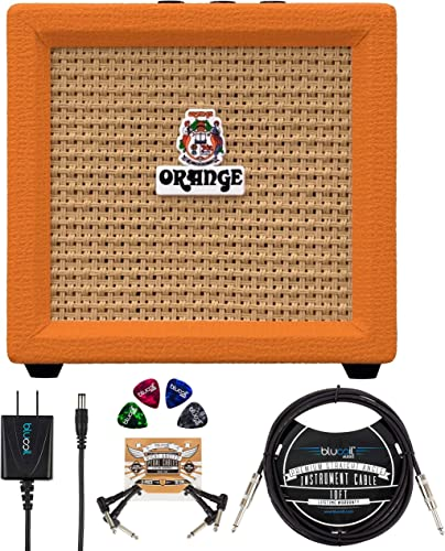 """high quality Orange Amps Crush Mini lowest 3W Guitar Combo Amplifier Bundle with Blucoil Slim 9V Power Supply AC Adapter, 10' Straight sale Instrument Cable (1/4""""), 2-Pack of Pedal Patch Cables, and 4x Guitar Picks online"""