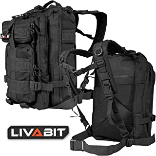 LIVABIT Tactical Emergency EDC 3 Day Earthquake Survivalist Grab and Go Bug Out Kit Bag Backpack Rucksack Molle Nylon Carr...