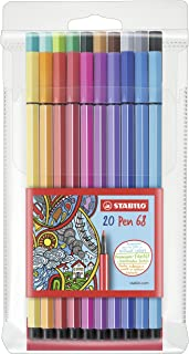STABILO Felt-tip Stabilo Pen 68 6820-PL Assorted Fibre Felt Tip Pens Wallet of 20, Multicoloured, (0349920)