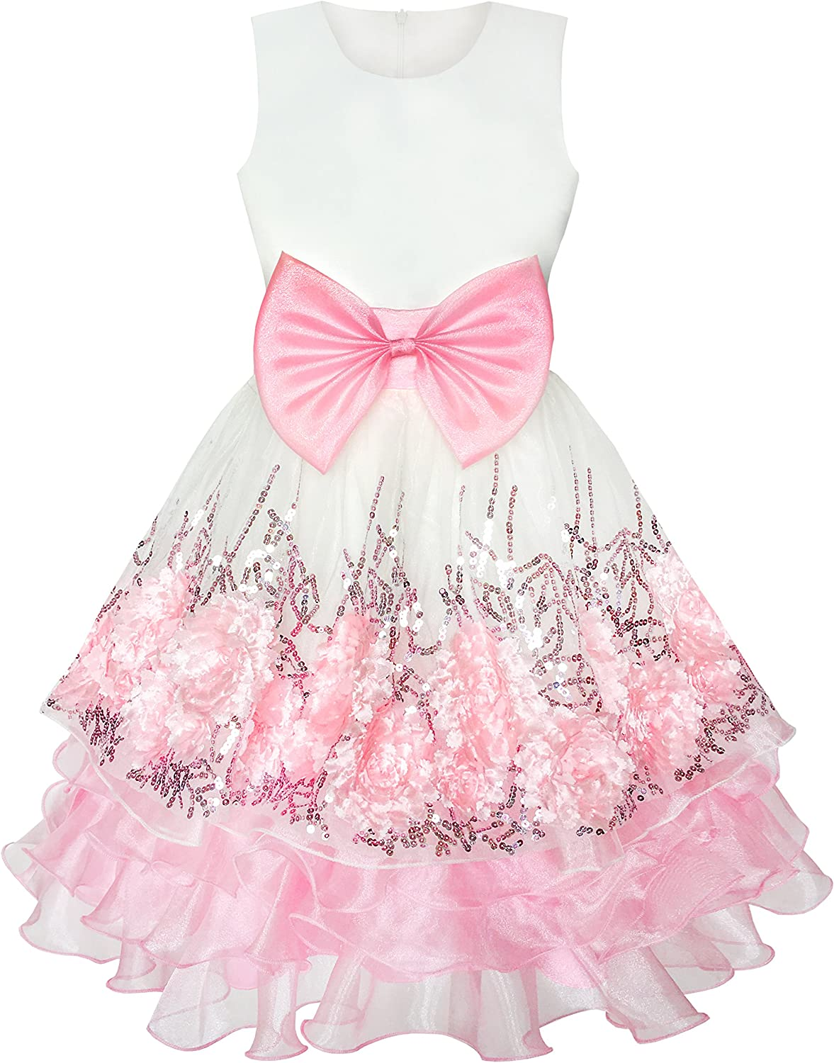Sunny Fashion Flower Girls Dress Pink Sequin Dimensional Flowers Bow Tie Pageant