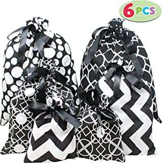 6 PCs Christmas Fabric Gift Bags Black Elegant Color with 3 Sizes for Christmas Season, Holiday Gift Giving, Holiday Presents Décor, Giant Gifts Decorations.