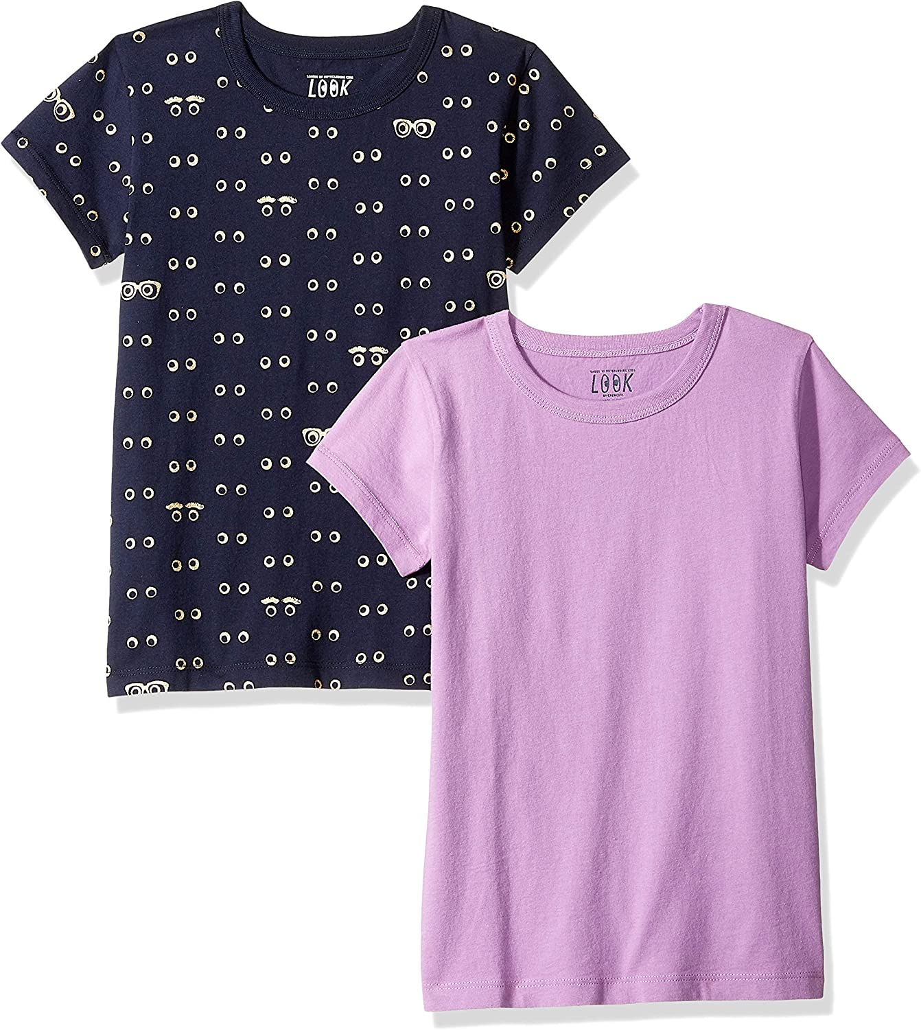 LOOK by crewcuts Girls 2-Pack Print//Solid Short Sleeve T-Shirt