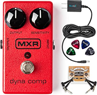 MXR M102 Dyna Comp Compressor Pedal Bundle with Blucoil Slim 9V 670ma Power Supply AC Adapter, 2-Pack of Blucoil Pedal Patch Cables and 4-Pack of Celluloid Guitar Picks