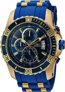 Men's Pro Diver Stainless Steel Quartz Watch with Polyurethane Strap, Blue, 26