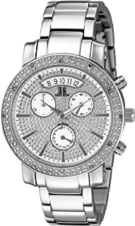 Joshua & Sons Women's JS57SS Silver Multifunction Swiss Quartz Watch With Sparkle Pave Silver Dial and Silver Bracelet
