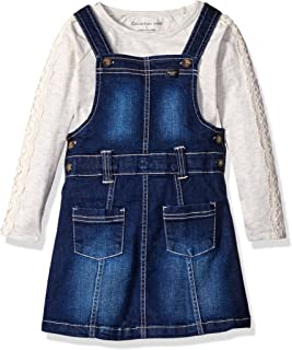 Girls' Denim Jumper with Tee Set Dress