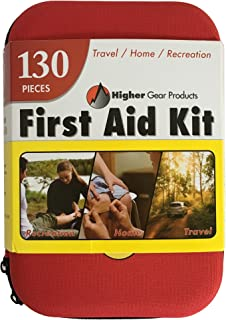 First Aid Kit for Car, SUV and Marine by Higher Gear - 130 Pieces, Hard Shell Case - Perfect Emergency Kit for Home, Businesses, Travel, Hiking, Backpacking, Camping and Sports + Bonus eBook
