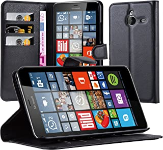 Cadorabo Book Case Works with Nokia Lumia 640 XL in Oxid Black – with Magnetic Closure, Stand Function and Card Slot – Wallet Etui Cover Pouch PU Leather Flip