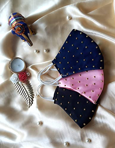 Shree Shree traders Fashion Wedding Special Unisex Cotton Satin Washable Reusable Light Weight Cloth Face Mask Withou...