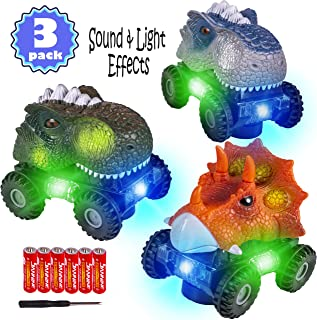 3 Pack Dinosaur Cars with LED Light Sound Dino Car Toys Car Gifts Animal Vehicles for Boys Girls Toddles Kids Christmas Birthday Gifts Teacher Classroom Prize