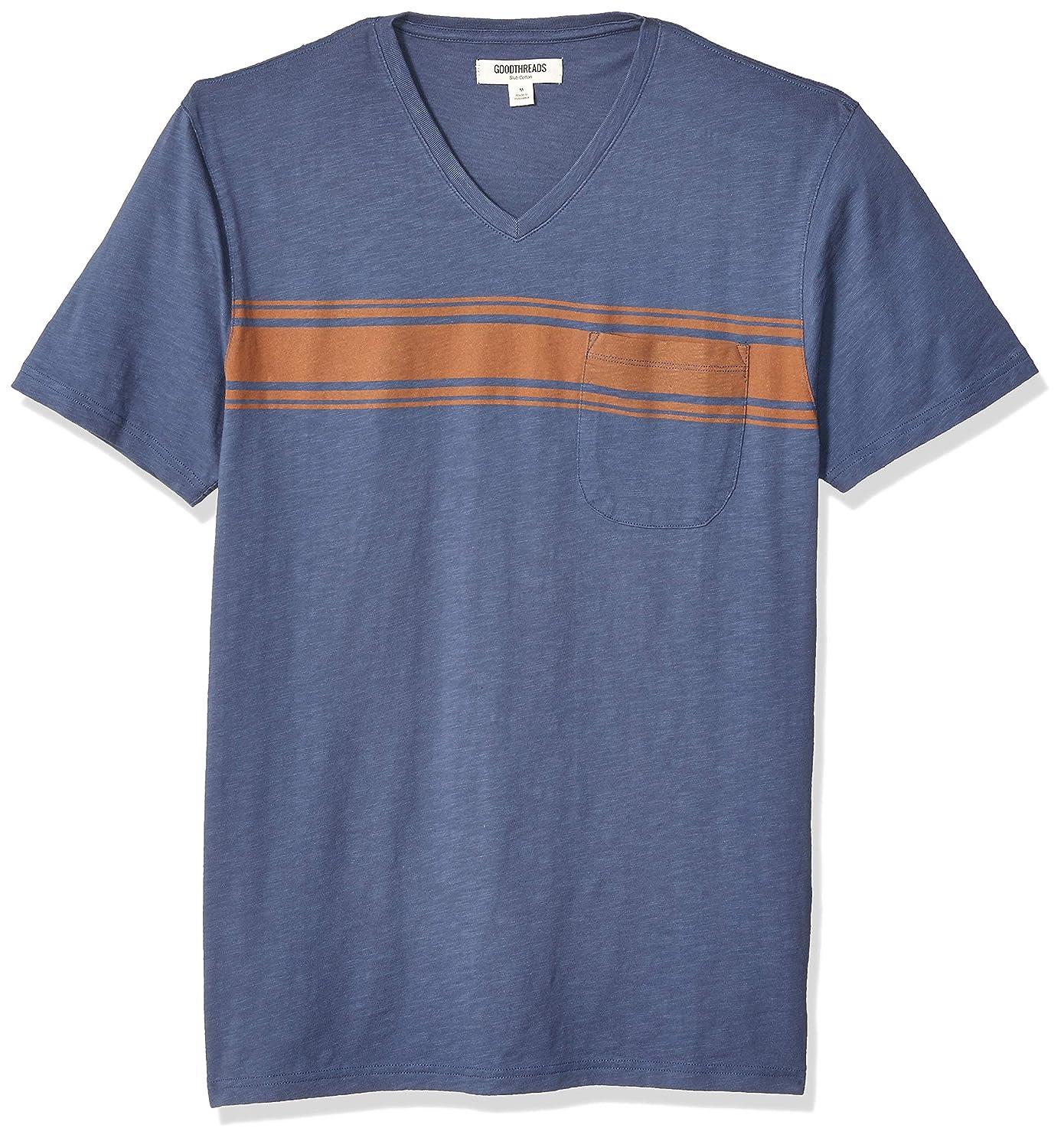 Goodthreads Men's Slub Placed-Stripe V-Neck T-Shirt