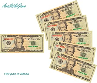 AvailableGame 20 Dollars Play Money for Games, Monopoly Prop Paper Copy Money Double-Sided Printing 100 pcs $2,000 Educational Twenty Dollar Bills Copy Money Stack for Kids