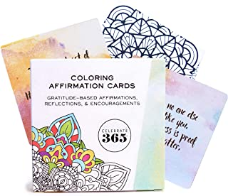 Positive Affirmation Cards for Women Bundle - Digital Gratitude Journal, Meditation Music, Coloring Cards That Work With Watercolor Pencils - Deck of 54 Daily Affirmations and Inspirational Notes