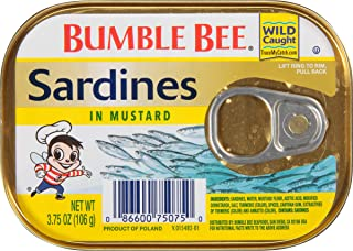 BUMBLE BEE Sardines in Mustard, 3.75 Ounce Can (Pack of 18), Canned Sardines, High Protein Food, Keto Food, Keto Snacks, G...