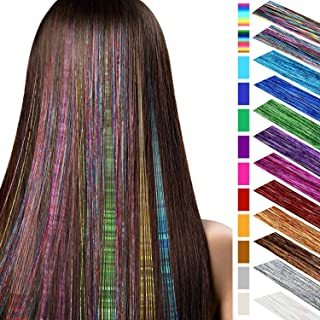 Hair Tinsel Strands 40 Inches Shiny Hair Tinsel Highlights Glitter Hair Extensions Bling Straight Hairpieces Party Supplies, 12 Colors (2880 Pieces)