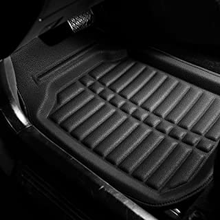 FH Group F14409SOLIDBLACK Solid Black F14409BLACK Deep Tray All Weather Floor Mats 4 Piece Set