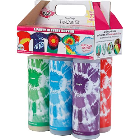 Tulip One-Step Tie-Dye Kit Extra Large Block Party 16 oz Easy Squeeze Bottles, All-in-1 Kit for Group Activity Tie-Dye, 6, Vibrant Colors