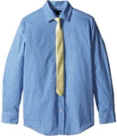 Tommy Hilfiger Kids Long Sleeve Mini Gingham Shirt with Tie (Big Kids)