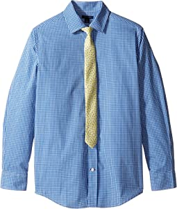 Long Sleeve Mini Gingham Shirt with Tie (Big Kids)
