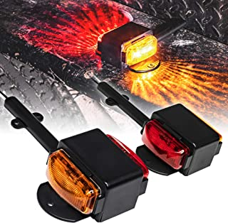"2pc 7"" Amber + Red LED Trailer Fender Light Set [DOT Approved] [SAE P2] [IP67 Waterproof] Trailer Clearance Marker Lights for Boat Utility Trailer Hauler Car"