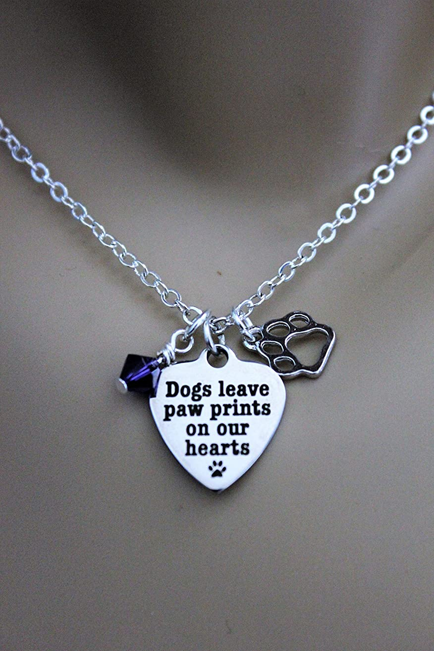 Dogs Leave Paw Prints On Our Hearts Stainless Steel Laser Engraved Heart Necklace With Silver Heart Charm and Swarovski Birthstone