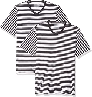 Amazon Essentials Men's Slim-fit Short-Sleeve Stripe V-Neck T-Shirts